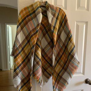 Plaid shawl wrap with fringe